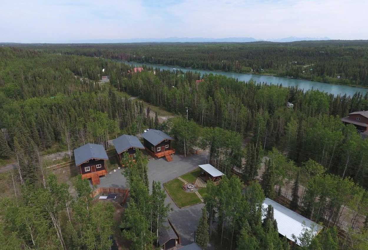 Birds view of RodFather lodge and Kenai River in Alaska