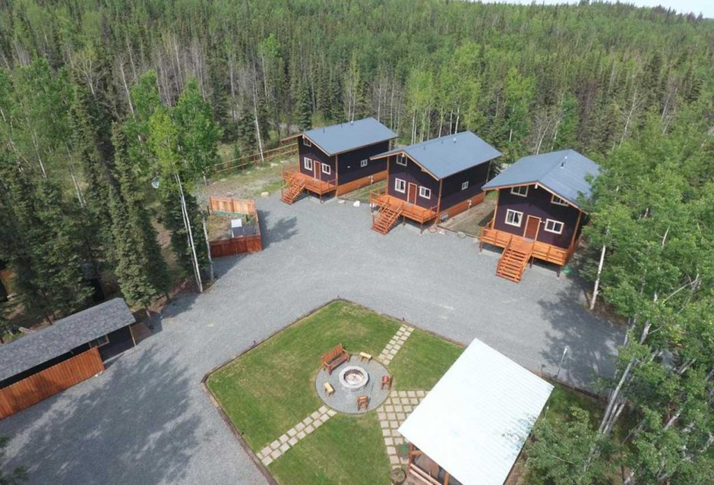 Birds view of all 3 RodFather Lodges, Fire Pit and grassy area